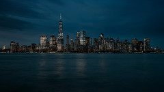 Skyline of New York City (roken-roliko) Tags: city nyc newyorkcity nightphotography travel blackandwhite newyork architecture night reflections lights colours panoramic tones traveldestination cityandarchitecture rolandshainidze