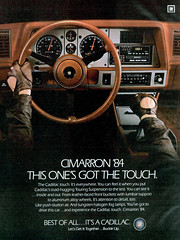 1984 Cadillac Cimarron (Tom Simpson) Tags: cars car vintage ads advertising ad cadillac advertisement 1984 1980s console classiccars steeringwheel gearshift cimarron vintagead drivinggloves 1984cadillaccimarron