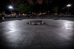 Empty Fountain (c_slavik) Tags: park new york city nyc fountain night square washington empty perspective vast