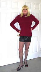 More black leather! (donnacd) Tags: red white black stockings panties scarf hair gold necklace donna tv shoes pumps dress legs cd bra fishnet tights polka crossdressing dressing blouse tgirl thong sissy tranny heels corset earrings collar dots jewels crossdresser crossdress ts crossed domina feminization clit travesti clitty feminized xdresser transgenre tgurl