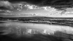 Moody Beach (PIERRE LECLERC PHOTO) Tags: travel sea sky seascape reflection beach water clouds dark landscape hawaii blackwhite sand waves moody emotion secretbeach dramatic maui pacificocean hawaiian athmosphere canon6d pierreleclercphotography