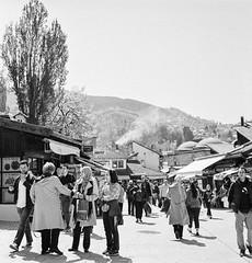 Old Town Sarajevo (C Bing) Tags: film mediumformat sarajevo balkans blackandwhitephotography kodaktrix400 blackandwhitefilm bosniaandherzegovina baarija rolleiflex28gx