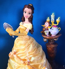 Belle and Friends (Richard Zimmons) Tags: doll dress princess barbie disney lumiere emmawatson belle mattel beautyandthebeast disneystore liveaction cogsworth