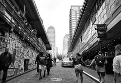 Gum Wall Stroll (Brian Legate) Tags: bw black white blackandwhite street city urban citylife downtown streetphotography seattle washington seattlewashington pikeplace pike
