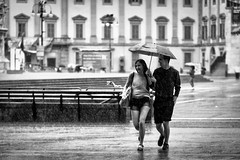 Walking in the rain (Petricor Photography) Tags: street people blackandwhite white black rain walking photography candid and canonpersonalconnection