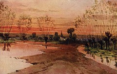 Antique Postcard - Landscape at Sunrise, probably after the snow melts in the spring. (Brynn Thorssen) Tags: trees sunset orange reflection green church water leaves rural sunrise vintage spring flood antique postcard country steeple dirt rollinghills smalltown springtime flooded springthaw churchsteeple whitechurch springmelt