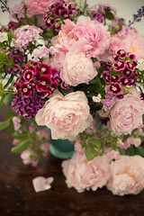 pink summer vase (photoart33) Tags: pink red roses summer stilllife classic purple sweet william peony jug