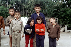 32-185 (ndpa / s. lundeen, archivist) Tags: rural village people nick dewolf nickdewolf 32 reel32 color photographbynickdewolf 1970s 1972 fall film 35mm winter republicofchina taiwan taiwanese eastcoast easterntaiwan hualien hualiencounty easterncoast rurallife unidentified locals local children kids group boys girls smile smiles smiling china chinese 1973