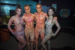 A Night At The AQUEERium, Pride 2016, Toronto, Canada (DawnOne) Tags: gay costumes party copyright fish toronto canada men bar night dawn aquarium women tank ripleys pride bodypaint linda lgbt bathing queer hammond embracing 2016 lgbtq indyfoto aqueerium