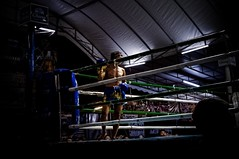First stage of MuayThai, A boy, 18 years, came out and get his side, Chiangmai Muaythai Championship Competition. (SUNA_PHOTOGRAPHY) Tags: colour thailand stage photojournalism chiangmai youngpeople muaythai