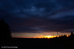 Sky full of brooding clouds at sunrise (Trevdog67) Tags: road morning blue summer sky black nature clouds sunrise early nikon outdoor horizon july full newbrunswick moncton nouveaubrunswick brooding nikkor silhoutte irishtown 2016 18300mm d7100 stilesville indianmountainroad