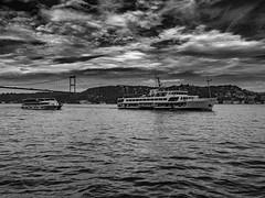 Ferry going - Bosphorus / Istanbul - #m43turkiye . com (Ciddi Biri) Tags: bridge sea sky ferry turkey boat cloudy turkiye istanbul deniz vapur bosphorus boazii kpr bulut gkyz fsmbridge epl3 1442rii m43turkiye
