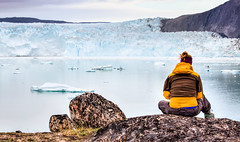 Eqi Glacier, Greenland (bredsig) Tags: travel summer woman white snow cold ice landscape view watching delta hike glacier arctic greenland gl ilulissat eqi eqiglacier