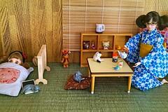 Tea time or nap time?? :D (cute-little-dolls) Tags: cat doll handmade sleep tatami kawaii blythe rement greentea momoko gacha petiteblythe momokodoll