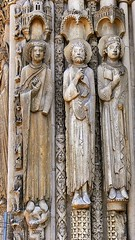 The Western (Royal) Portal (detail) at Chartres Cathedral, France, ca. 1145. Its celebrated sculptures show the transition from Romanesque to Gothic style. (mike catalonian) Tags: sculpture france cathedral medieval transition chartres middleage xiicentury 1145 lateromanesque earlygothic royalportal