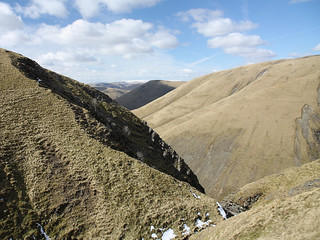 Black Force scar and the north side of Carlin Gill, Howgill Fells near Sedbergh, Yorkshire Dales National Park, Cumbria, UK