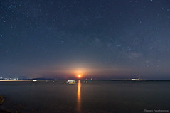 Moonrise and the Milky Way (Th.Papathanasiou) Tags: sea sky moon reflection beach night dark stars coast nightscape space greece astrophotography moonlight universe attica lightpollution milkyway evia euboea loutsa artemida
