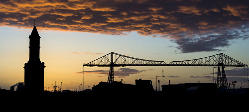 Transporter Bridge and Clock Tower sunset