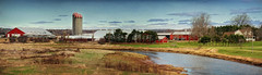 A River Runs Through It (sminky_pinky100 (In and Out)) Tags: travel red panorama canada tourism rural river landscape novascotia farm stripes farming barns meadows textures fields silos agriculture tractors stewiacke omot cans2s exhibitionoftalent masterclassexhibition masterclasselite