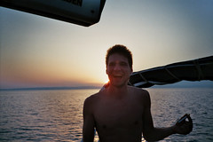 (LVE) Tags: camera sunset sea summer sun man love film beautiful analog laughing 35mm canon fun photography evening boat sailing ship underwater lion young like croatia hr lve