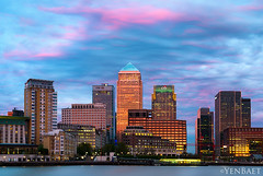 London - Canary Wharf, Sunset (Yen Baet) Tags: city uk greatbritain travel sunset england london architecture reflections twilight europe european cityscape waterfront view unitedkingdom britain dusk greenwich scenic hilton eu landmark icon transportation cablecar vista docklands british iconic citibank thamesriver gondolas waterscape britons onecanadaplace yenbaet
