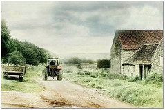 Rural Rides (~ paddypix ~) Tags: trees summer england sky tractor green rural countryside yorkshire barns lane farmer northyorkmoors countryroads photomix farminglife besteverexcellencegallery