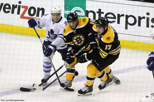 Tyler Seguin and Milan Lucic battle with Nikolai Kulemin