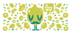 Monday (FLIM291) Tags: cute green illustration vintage lemon drawing retro mug vector flim