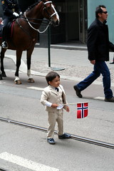 Oslo on Constitution Day (Harml) Tags: street boy horse up oslo norway day child flag may police norwegian constitution dressed 17th
