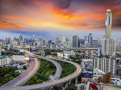 Bangkok city (anekphoto) Tags: road street city travel bridge blue windows light shadow sky urban blur reflection building tower grass station vertical skyline architecture modern clouds skyscraper way landscape thailand hotel town office high construction asia downtown day cityscape view apartment bangkok district bank midtown business condo thai midnight tropical residence viewpoint condominium biyok