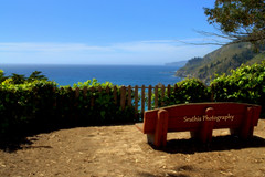 A Place to Sit and Relax... (Sruthis Photography) Tags: ocean ca beautiful bench relax bay nikon view place pacific bigsur falls sit lovely mcwayfalls mcway d5000 nikond5000