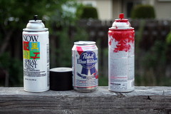 Spray paint and pabst (Imaybeanorangepeel) Tags: paint spray pbr pabst tribute slayer pabstblueribbon