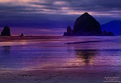 Sunset Silhouette Haystack Rock, Cannon Beach, Oregon (PhotosToArtByMike) Tags: oregon or pacificocean oregoncoast cannonbeach haystackrock monolith pacificcoast seastack greatnature pacificnorthwestcoast