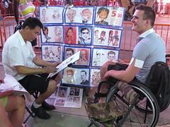 NYC Caricature Artist (OakleyOriginals) Tags: nyc happy sketch artist wheelchair tourist talent timessquare caricature draw handicapped