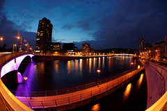 Meuse by night (apgermain) Tags: water architecture night reflections river sigma fisheye meuse lige