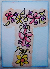 ATC Letter T made for Lets swap ATC's group alphabet swap 220913 NFT (ladychiara) Tags: flowers atc t letter watercolour handdrawn doodled neocolours
