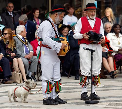 London Pride  morris men and a dog