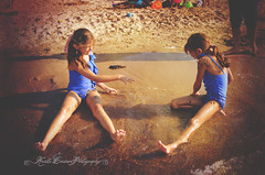 (Krista Cordova Photography) Tags: girls lake playing water girl kids sisters swimming swim children fun happy mud sister lakemichigan cutekids mudfight blueswimsuit bluebathingsuits throwingmud