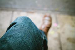 Blue jeans (itspaulkelly) Tags: me foot shoe pavement leg jeans denim