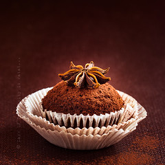Chocolate cupcake decorated with cocoa powder and star anise (locrifa) Tags: birthday christmas wood party food orange brown holiday flower color cup kitchen cake fruit dark paper recipe dessert star healthy flavor time tea sweet chocolate background spice rich decoration tasty case sugar seeds east celebration delicious homemade cupcake fragrant condiment citrus organic tradition muffin cocoa aromatic decorate bake herb baked decorated liner anise ingredient