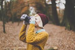 WANDERLUST (333Bracket) Tags: camera trees winter london nature girl hat photography sweater woods play bokeh ef50mmf14 fullframe hampsteadheath polaroidland250 333bracket canon5dmk2