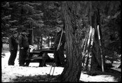 ski picnic (fchemotti) Tags: ski monochrome oregon picnic kodaktmax100 kodakretina froglake