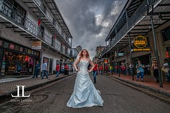 Bride and Bourbon Street New Orleans (Jason Lanier Photographer) Tags: world street new wedding jason abandoned photography orleans shoot photographer place top photographers places flags best pearls haunted bourbon six lanier bridals jazzland