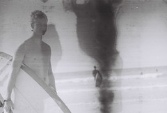Water damaged Film (Hayes MKII) Tags: bw men film canon newquay surfing topless hayes t50 2013