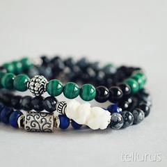 Snowflake obsidian, onyx, malachite, lapis lazuli bracelet stack (beakee) Tags: blue black green handmade jewelry stack handcrafted accessories bracelets onyx malachite sterlingsilver lapislazuli snowflakeobsidian zenfrog carvedbone tellurus