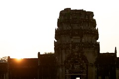 Sun Set at Main Entrance of Angkor Wat (Patumraat) Tags: world old travel holiday building tourism architecture wonder thailand temple ancient cambodia vishnu god religion ruin culture buddhism siem classical civilization wat hindu asean reise reab