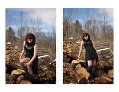 (Wandy Rafaela) Tags: wood red black tattoo hair dress thigh bangs