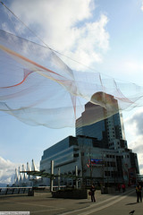 Janet Echelman Sculpture (gerry.bates) Tags: city urban sculpture canada building art architecture vancouver canon design downtown bc britishcolumbia flags structure hotels canadaplace tedconference vancouverconventioncentre janetechelman