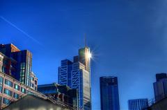 Sky Flare (ray_anthony) Tags: sky london skyline skyscraper nikon bluesky flare citycentre hdr highdynamicrange liverpoolstreet bishopsgate sunray photomatix hdrphotography herontower