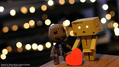 That's The Way Love Goes (AreKev) Tags: red game love lights amazon nikon day heart action bokeh mini led figure valentines valentinesday yotsuba danbo thatsthewaylovegoes revoltech d7100 littlebigplanet sackboy danboard 35mmf18g nikond7100
